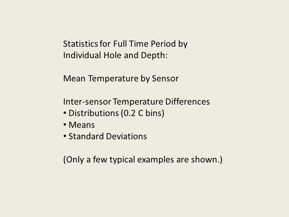 Statistics for Full Time Period by Individual Hole and Depth: Mean Temperature by Sensor Inter-sensor Temperature Differences Distributions (0.2 C bin