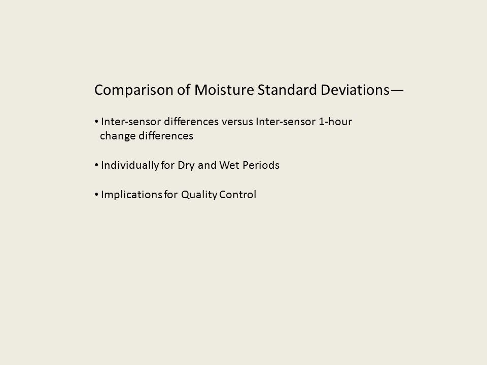 Comparison of Moisture Standard Deviations— Inter-sensor differences versus Inter-sensor 1-hour change differences Individually for Dry and Wet Periods Implications for Quality Control