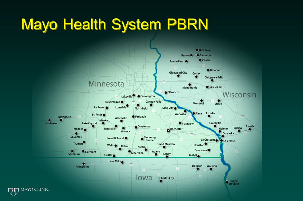MHS PBRN Construction… Planning process  3 Workgroups with full MHS participation Business plan formulated and approved  Creation of network infrastructure  Significant intramural funding Planning grants for initial projects  Led by MHS clinicians, with Mayo Rochester partners