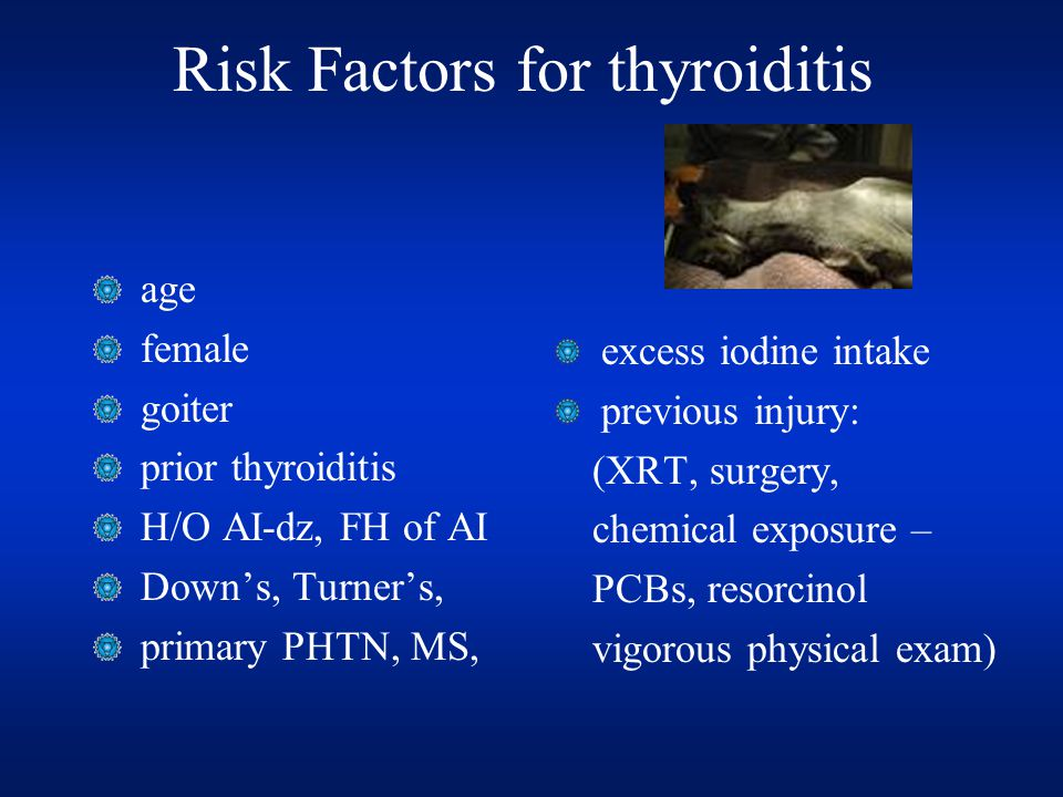 Risk Factors for thyroiditis age female goiter prior thyroiditis H/O AI-dz, FH of AI Down's, Turner's, primary PHTN, MS, excess iodine intake previous