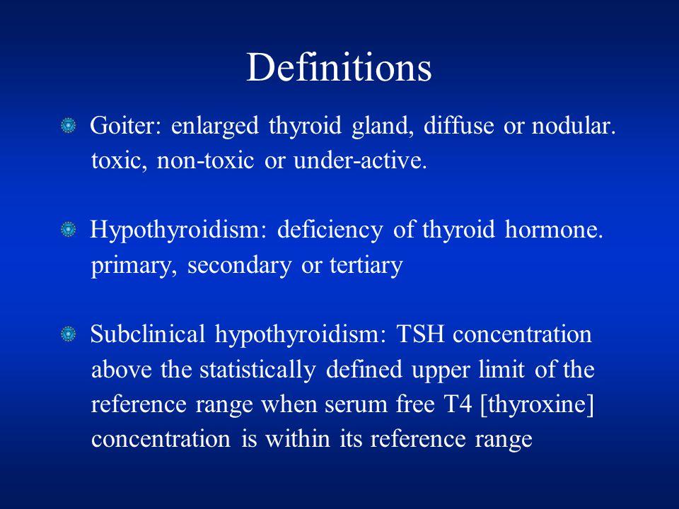 Definitions Goiter: enlarged thyroid gland, diffuse or nodular.