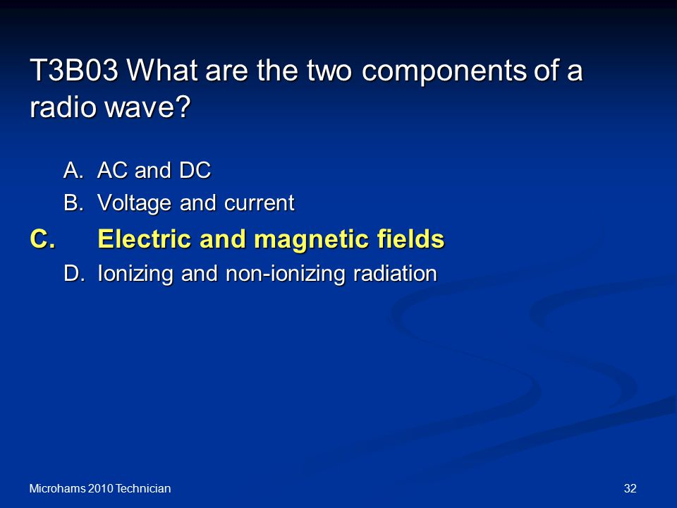 32Microhams 2010 Technician T3B03 What are the two components of a radio wave.