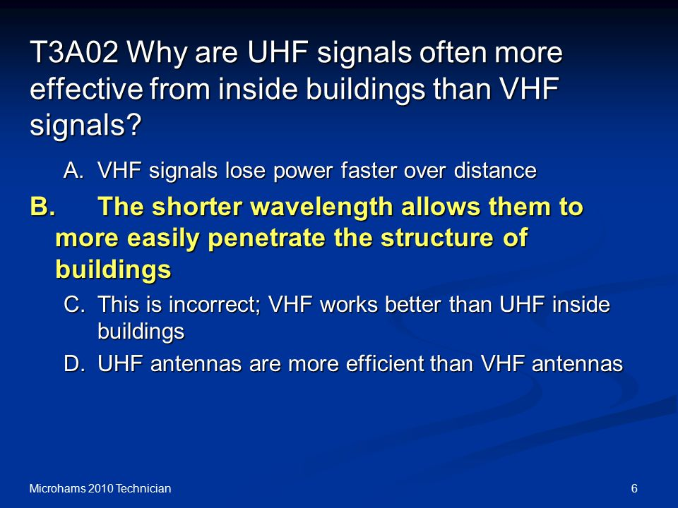 6Microhams 2010 Technician T3A02 Why are UHF signals often more effective from inside buildings than VHF signals.
