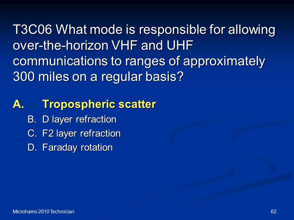 62Microhams 2010 Technician T3C06 What mode is responsible for allowing over-the-horizon VHF and UHF communications to ranges of approximately 300 miles on a regular basis.