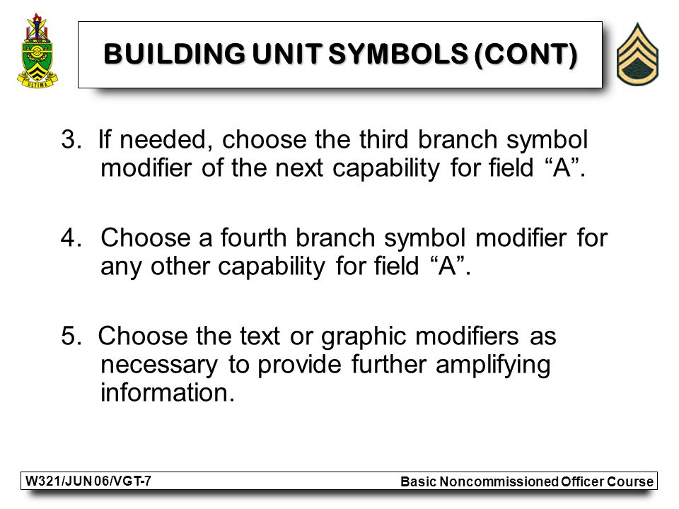 Basic Noncommissioned Officer Course W321/JUN 06/VGT-7 BUILDING UNIT SYMBOLS (CONT) 3.