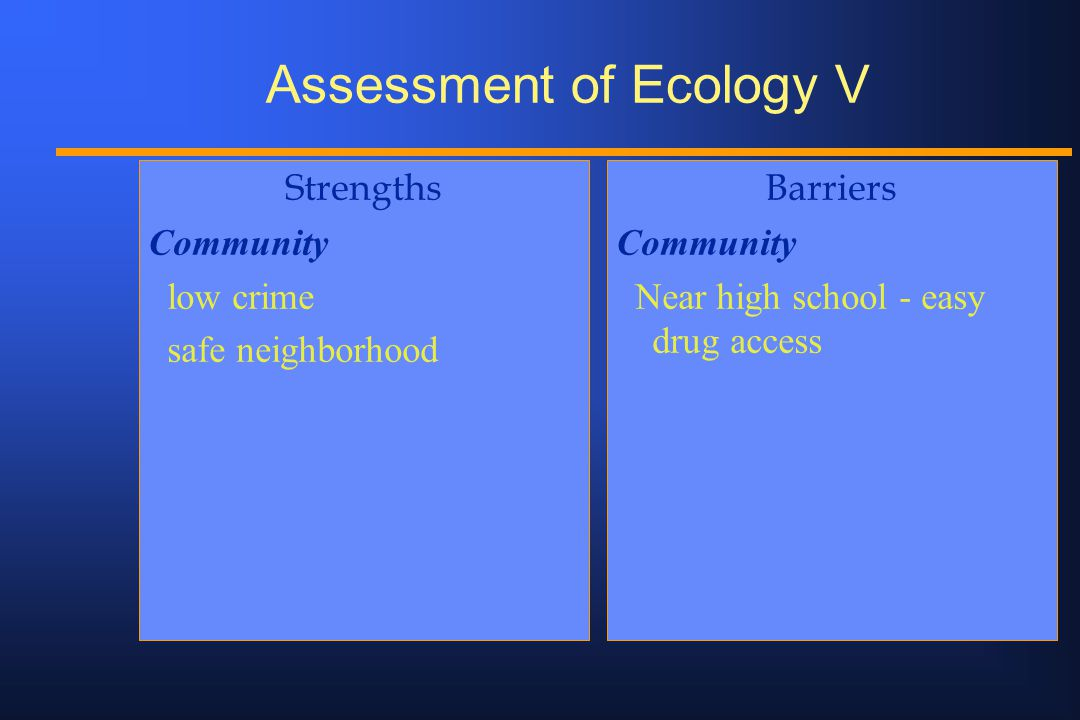 Assessment of Ecology V Strengths Community low crime safe neighborhood Barriers Community Near high school - easy drug access
