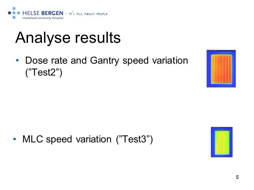 5 Analyse results MLC speed variation ( Test3 ) Dose rate and Gantry speed variation ( Test2 )