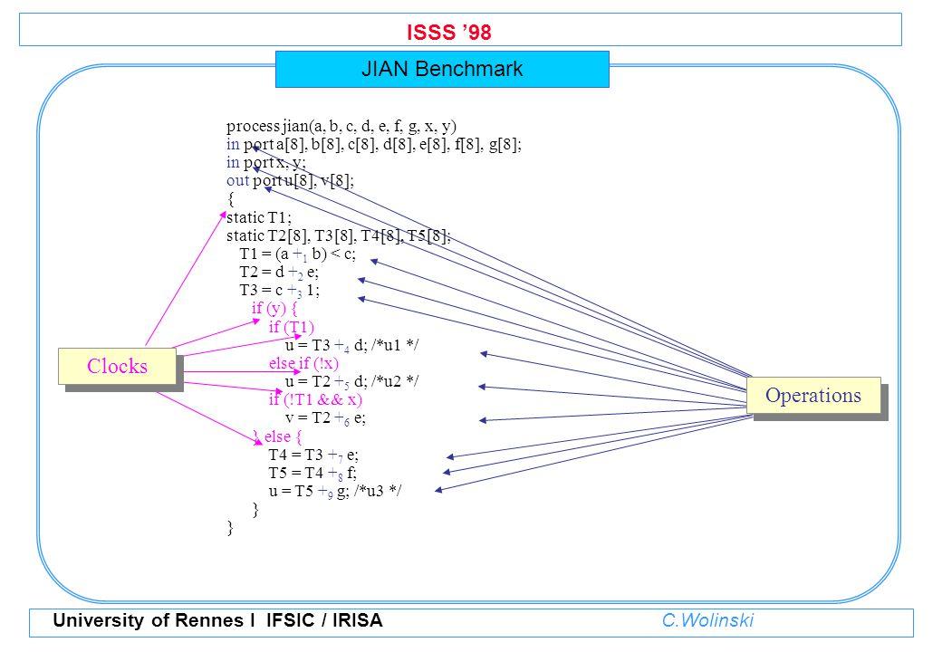 ISSS '98 University of Rennes I IFSIC / IRISA C.Wolinski process jian(a, b, c, d, e, f, g, x, y) in port a[8], b[8], c[8], d[8], e[8], f[8], g[8]; in port x, y; out port u[8], v[8]; { static T1; static T2[8], T3[8], T4[8], T5[8]; T1 = (a + 1 b) < c; T2 = d + 2 e; T3 = c + 3 1; if (y) { if (T1) u = T3 + 4 d; /*u1 */ else if (!x) u = T2 + 5 d; /*u2 */ if (!T1 && x) v = T2 + 6 e; } else { T4 = T3 + 7 e; T5 = T4 + 8 f; u = T5 + 9 g; /*u3 */ } JIAN Benchmark Clocks Operations