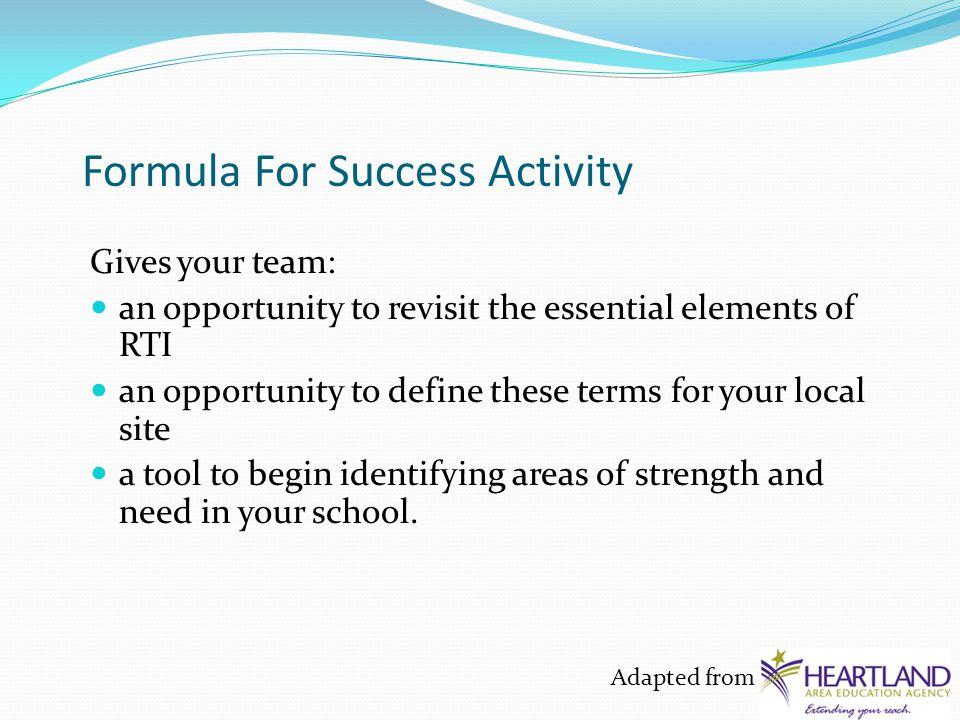 Consensus-Building Tool #2 Formula for Success BI (Big Ideas) CC (Core Curriculum) A (Assessments) T2 (Tier 2) T3 (Tier 3) = SUCCESS + BI + CC + A + T2+ T3 = Success