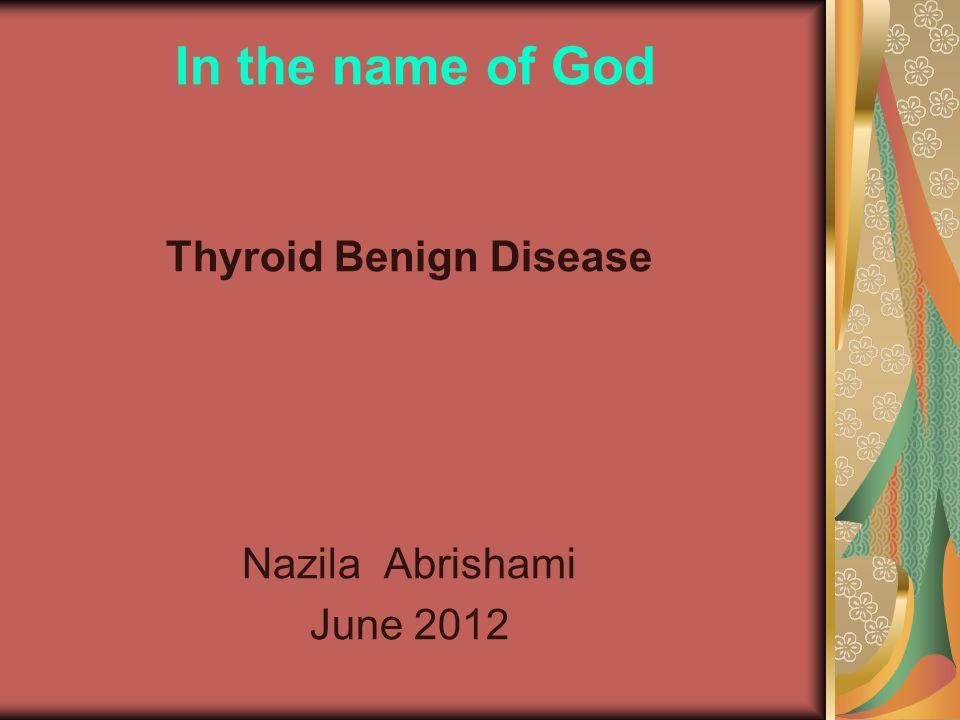 Thyroid benign disease 1)Hyperthyroidism Diffuse Toxic Goiter Toxic Multinodular Goiter Toxic Adenoma Thyroid Storm 2)Hypothyroidism 3)Thyroiditis 4)Riedels Thyroiditis 5)Goiter 6)Solitary Thyroid Nodule