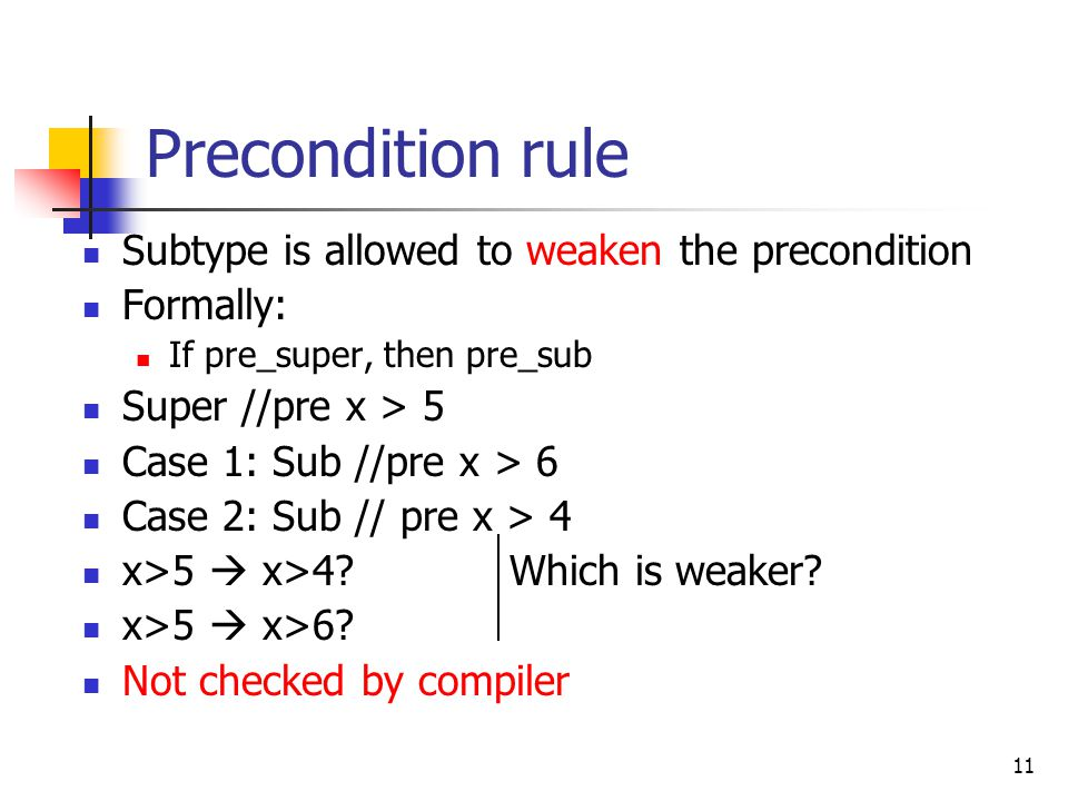 11 Precondition rule Subtype is allowed to weaken the precondition Formally: If pre_super, then pre_sub Super //pre x > 5 Case 1: Sub //pre x > 6 Case 2: Sub // pre x > 4 x>5  x>4 Which is weaker.