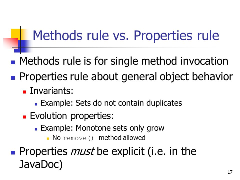 17 Methods rule vs.