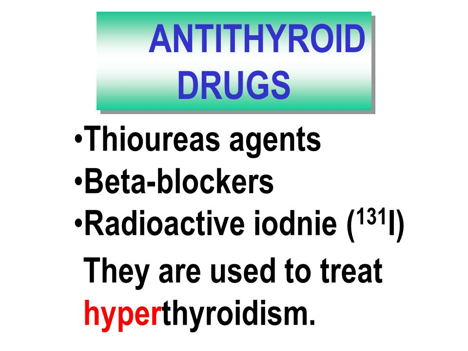 Jodthyrox  (T4 + < I) Levothyroxine  (T4) - tabl. 25 mcg Liothyronin  (T3) Thyreoidea siccata  Thyrotrophin (TSH)