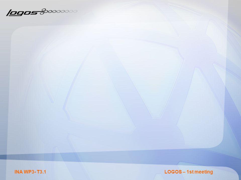 INA WP3- T3.1LOGOS – 1st meeting
