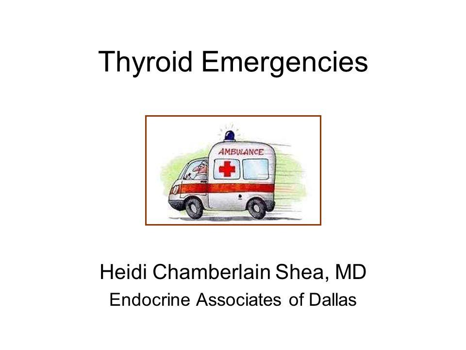 Thyroid Storm Diagnosis Decompensation of function due to symptoms –Hyperthermia –CNS effects Delirium, psychosis, coma, seizure –Cardiac Tachycardia Heart failure Abnormal rhythm –GI/Liver dysfunction Jaundice Diarrhea, nausea, vomiting and abdominal pain
