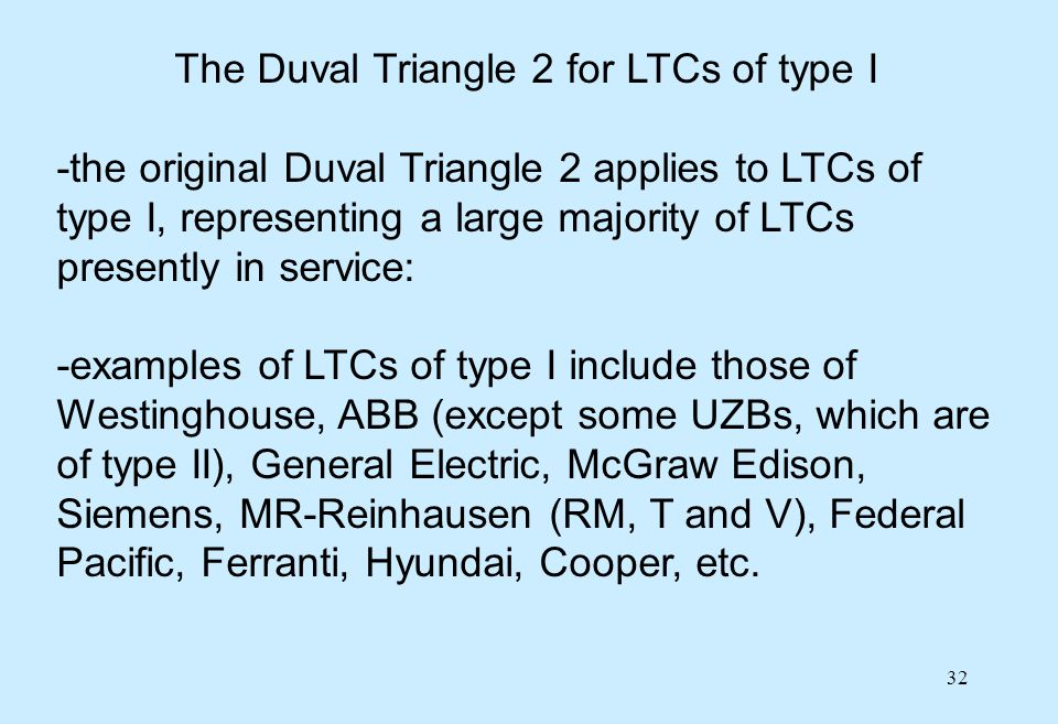 32 The Duval Triangle 2 for LTCs of type I -the original Duval Triangle 2 applies to LTCs of type I, representing a large majority of LTCs presently i