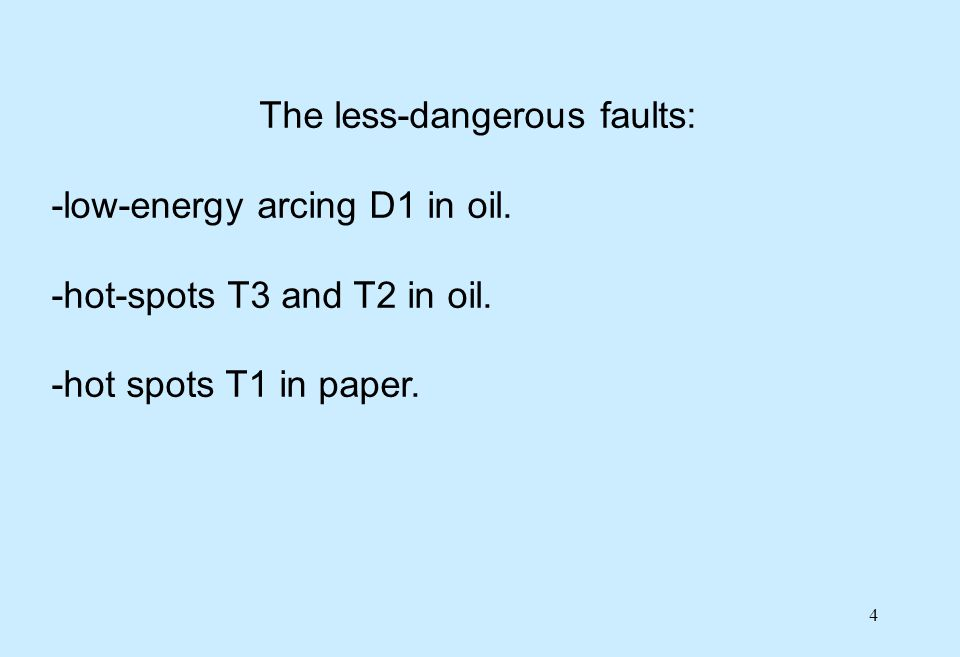 25 Effect of fault type on CIGRE condition 4 -to confirm these values, other examples of the following fault cases would be needed: -arcing faults D1/D2 in oil with high levels of C 2 H 2 and no failure, -arcing faults D1/D2 in paper just before failure, -thermal faults T1, T2 and T3 in paper with high levels of C 2 H 4, C 2 H 6 or CH 4 and no failure.