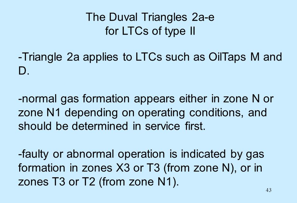 43 The Duval Triangles 2a-e for LTCs of type II -Triangle 2a applies to LTCs such as OilTaps M and D. -normal gas formation appears either in zone N o