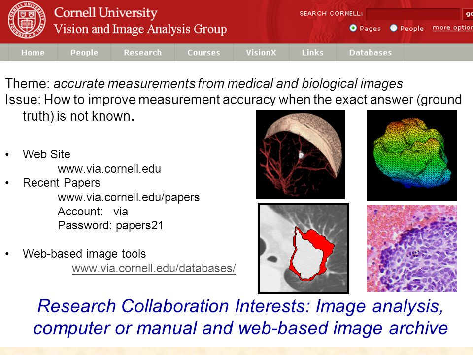 VIA Research Summary Theme: accurate measurements from medical and biological images Issue: How to improve measurement accuracy when the exact answer (ground truth) is not known.