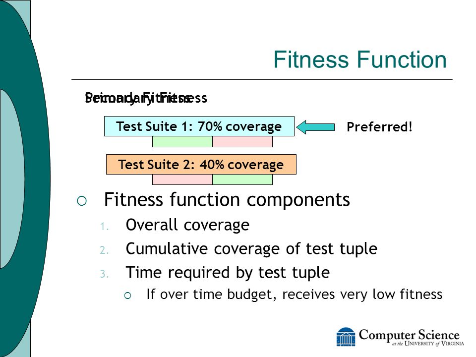 Fitness Function  Use coverage information to estimate goodness of test case Block coverage Method coverage  Fitness function components 1.