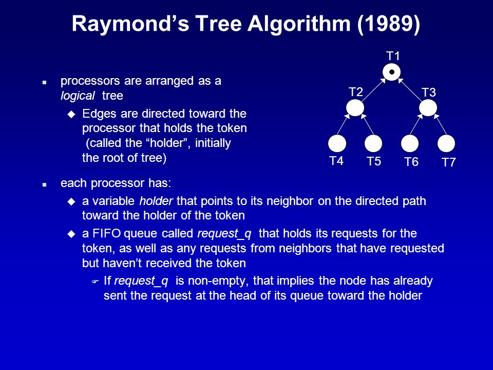 Raymond's Tree Algorithm (cont.) n requesting the CS: u when a process wants to enter the CS, but it does not have the token, it: F adds its request to its request_q F if its request_q was empty before the addition, it sends a request message along the directed path toward the holder if the request_q was not empty, it's already made a request, and has to wait u when a process in the path between the requesting process and the holder receives the request message, it F u when the holder receives a request message, it F sends the token (in a message) toward the requesting process F sets its holder variable to point toward that process (toward the new holder)