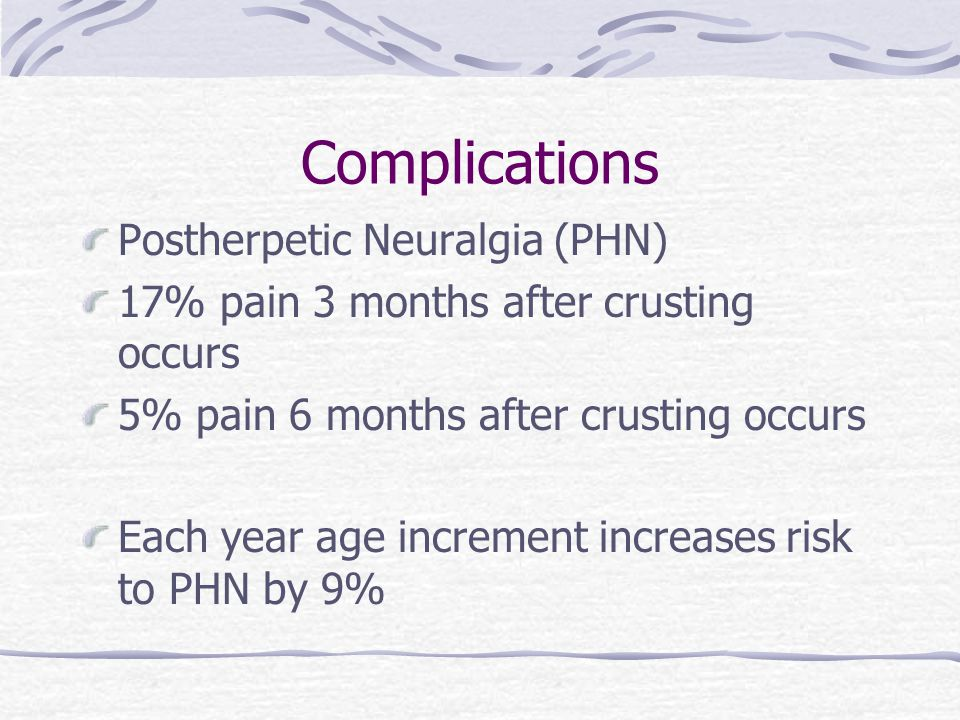 Complications Postherpetic Neuralgia (PHN) 17% pain 3 months after crusting occurs 5% pain 6 months after crusting occurs Each year age increment increases risk to PHN by 9%