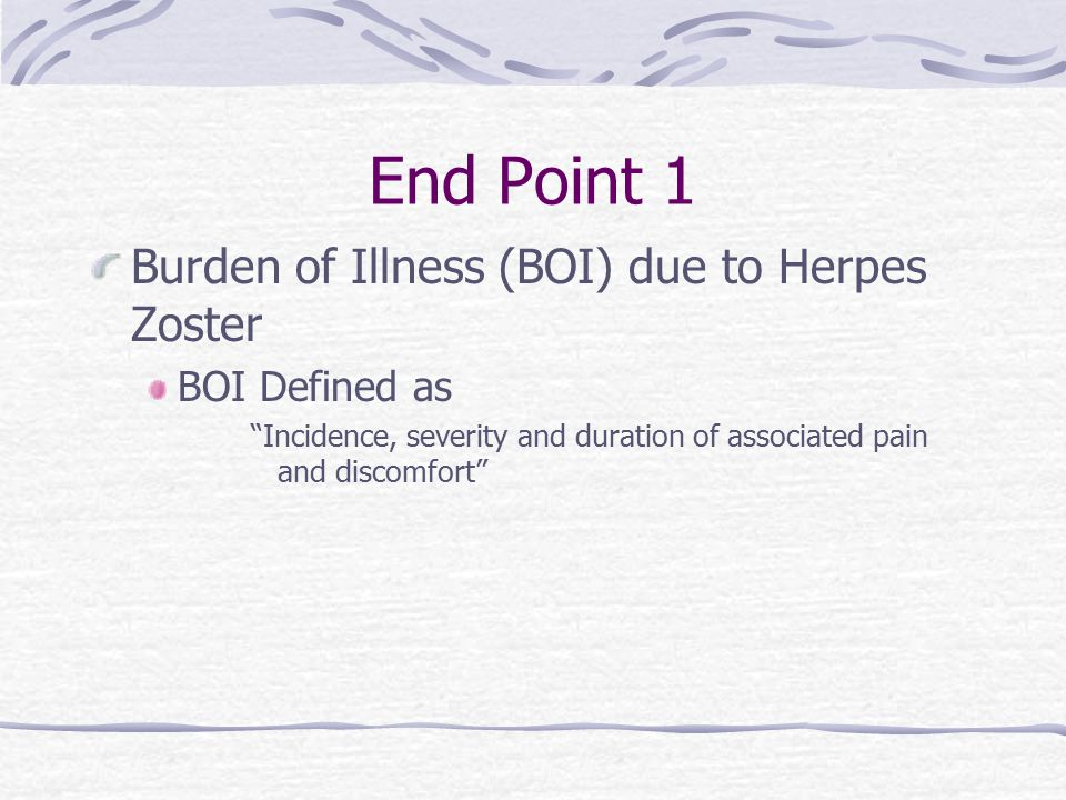 End Point 1 Burden of Illness (BOI) due to Herpes Zoster BOI Defined as Incidence, severity and duration of associated pain and discomfort