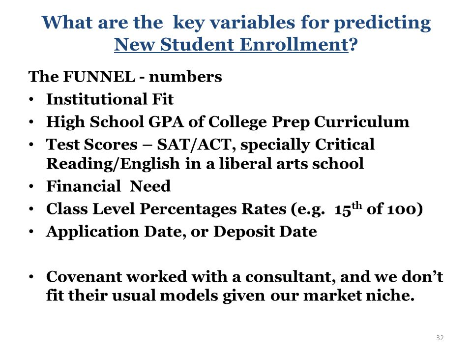 What are the key variables for predicting New Student Enrollment.