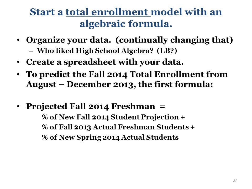 Start a total enrollment model with an algebraic formula.