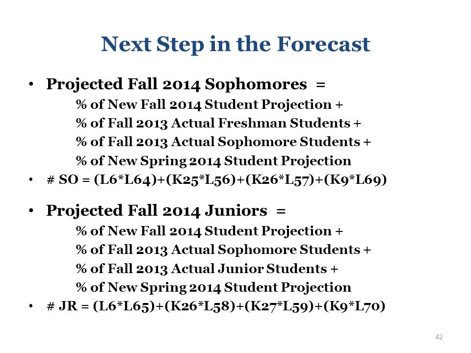 Next Step in the Forecast Projected Fall 2014 Sophomores = % of New Fall 2014 Student Projection + % of Fall 2013 Actual Freshman Students + % of Fall 2013 Actual Sophomore Students + % of New Spring 2014 Student Projection # SO = (L6*L64)+(K25*L56)+(K26*L57)+(K9*L69) 41
