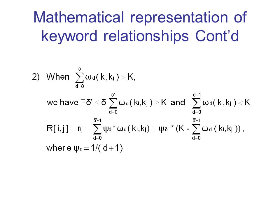 Mathematical representation of keyword relationships Cont'd