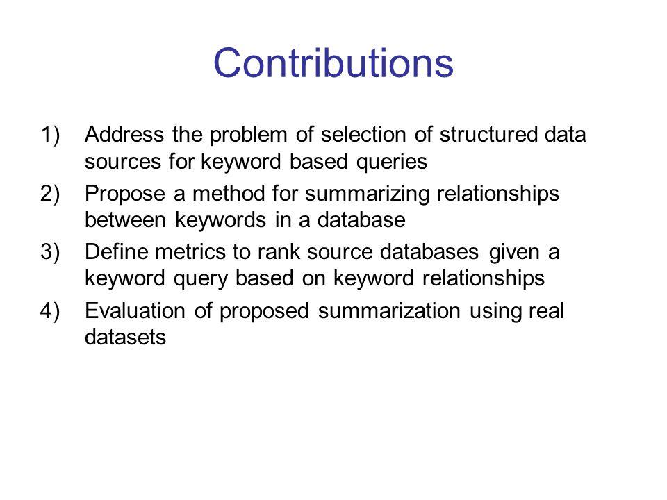 Estimating multi-keyword relationships Cont'd
