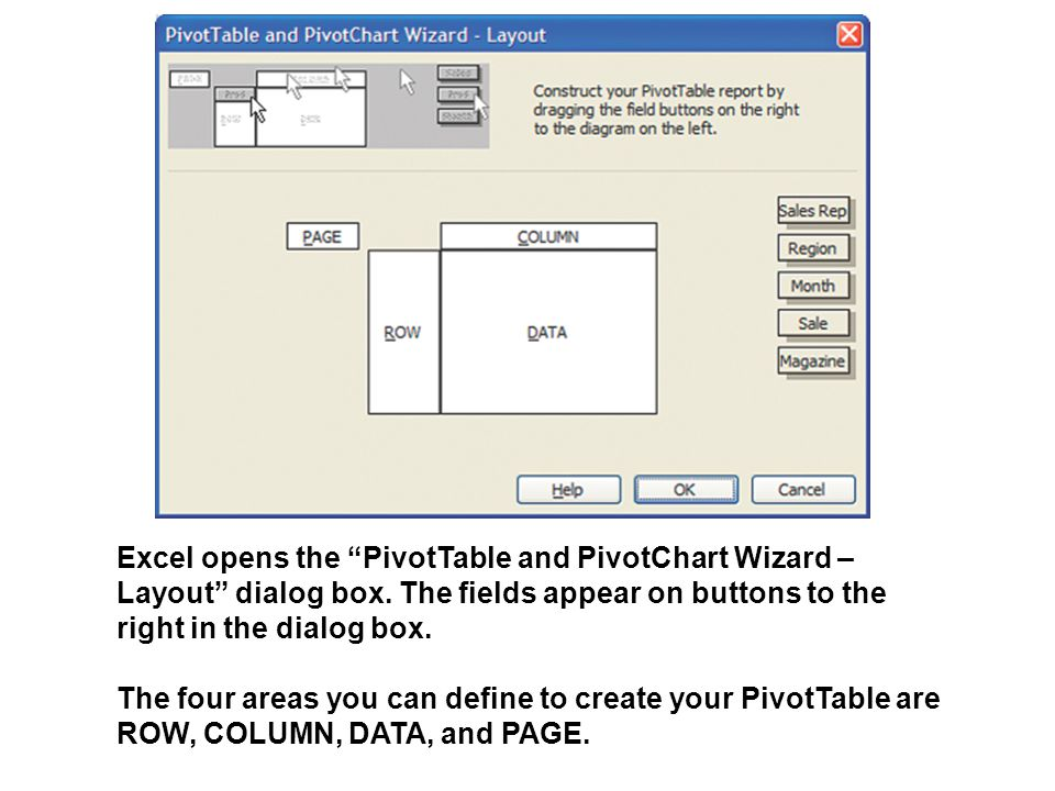 """Excel opens the """"PivotTable and PivotChart Wizard – Layout"""" dialog box. The fields appear on buttons to the right in the dialog box. The four areas yo"""