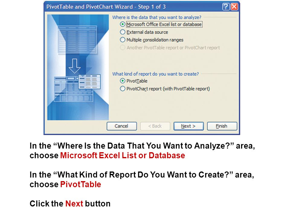 """In the """"Where Is the Data That You Want to Analyze?"""" area, choose Microsoft Excel List or Database In the """"What Kind of Report Do You Want to Create?"""""""