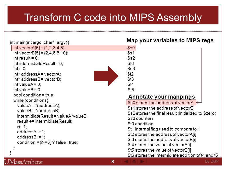 8 By DGP Transform C code into MIPS Assembly int main(int argc, char** argv) { int vectorA[5] = {1,2,3,4,5}; $s0 int vectorB[5] = {2,4,6,8,10}; $s1 int result = 0; $s2 int intermidiateResult = 0; $t6 int i=0; $s3 int* addressA = vectorA; $t2 int* addressB = vectorB; $t3 int valueA = 0; $t4 int valueB = 0; $t5 bool condition = true; while (condition) { valueA = *(addressA); valueB = *(addressB); intermidiateResult = valueA*valueB; result += intermidiateResult; i+=1; addressA+=1; addressB+=1; condition = (i>=5) .