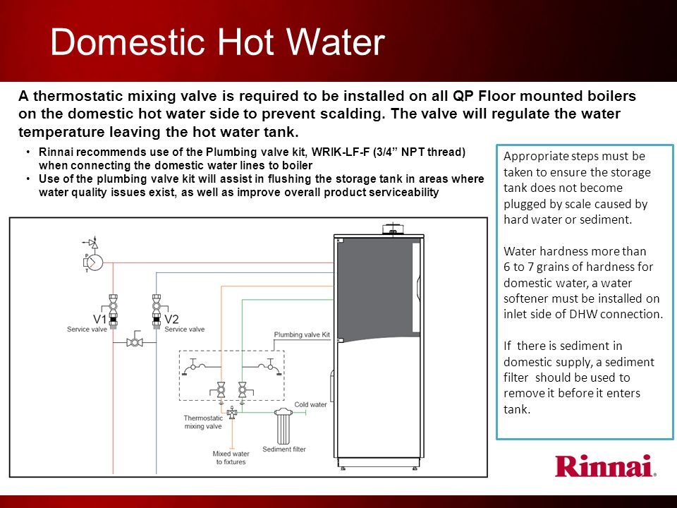 Domestic Hot Water A thermostatic mixing valve is required to be installed on all QP Floor mounted boilers on the domestic hot water side to prevent scalding.