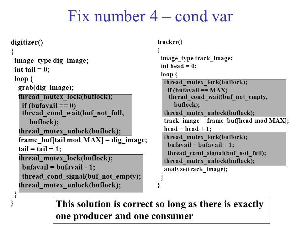 Fix number 4 – cond var digitizer() { image_type dig_image; int tail = 0; loop { grab(dig_image); thread_mutex_lock(buflock); if (bufavail == 0) thread_cond_wait(buf_not_full, buflock); thread_mutex_unlock(buflock); frame_buf[tail mod MAX] = dig_image; tail = tail + 1; thread_mutex_lock(buflock); bufavail = bufavail - 1; thread_cond_signal(buf_not_empty); thread_mutex_unlock(buflock); } tracker() { image_type track_image; int head = 0; loop { thread_mutex_lock(buflock); if (bufavail == MAX) thread_cond_wait(buf_not_empty, buflock); thread_mutex_unlock(buflock); track_image = frame_buf[head mod MAX]; head = head + 1; thread_mutex_lock(buflock); bufavail = bufavail + 1; thread_cond_signal(buf_not_full); thread_mutex_unlock(buflock); analyze(track_image); } This solution is correct so long as there is exactly one producer and one consumer