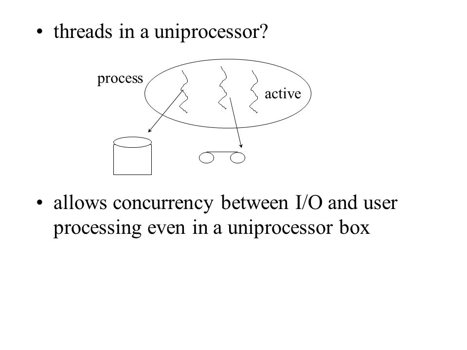active allows concurrency between I/O and user processing even in a uniprocessor box process threads in a uniprocessor