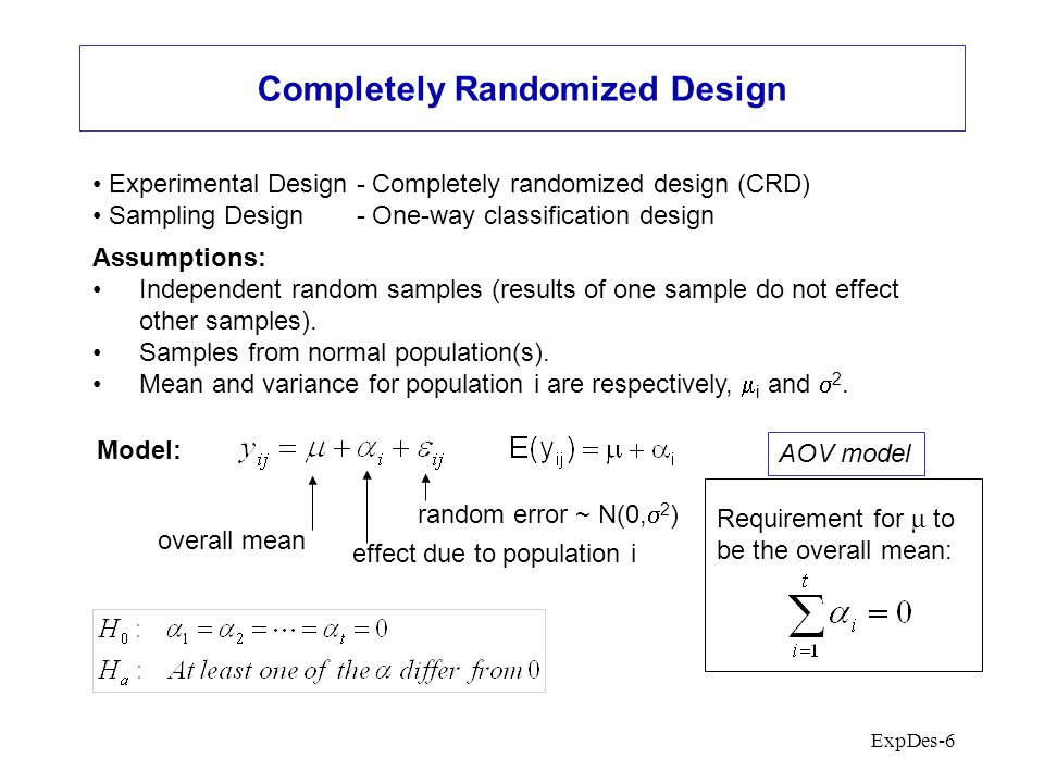 ExpDes-6 Completely Randomized Design Experimental Design - Completely randomized design (CRD) Sampling Design - One-way classification design Assumptions: Independent random samples (results of one sample do not effect other samples).