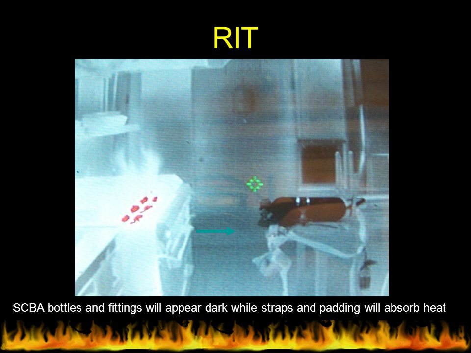 RIT SCBA bottles and fittings will appear dark while straps and padding will absorb heat