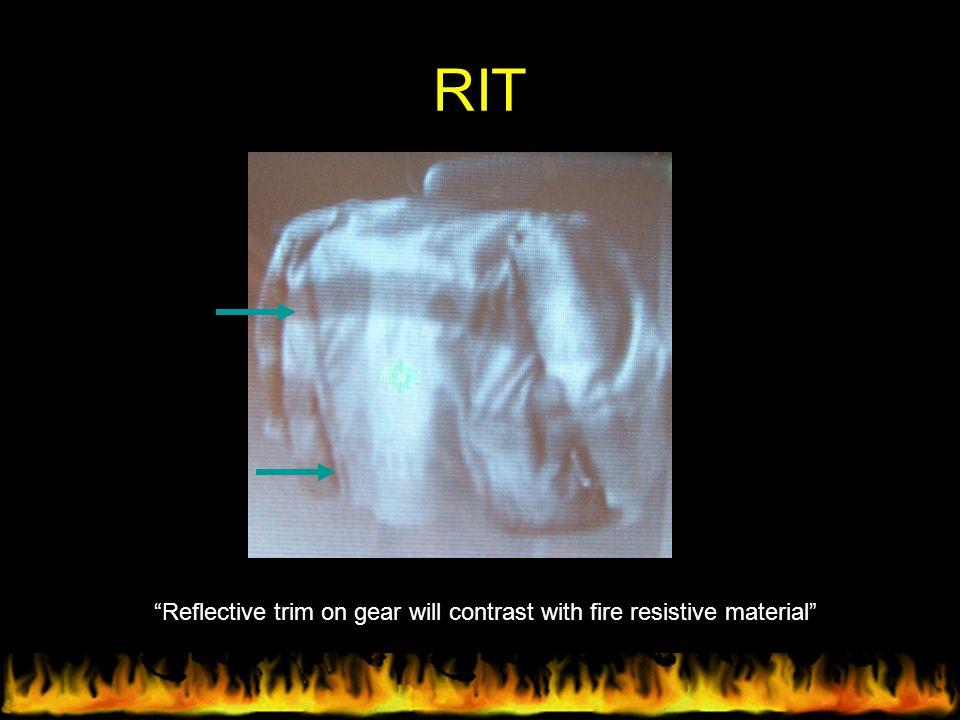 """RIT """"Reflective trim on gear will contrast with fire resistive material"""""""