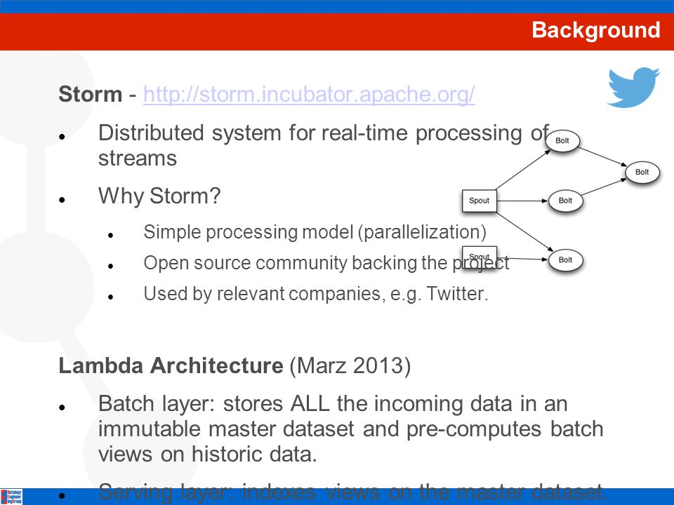Background Storm - http://storm.incubator.apache.org/http://storm.incubator.apache.org/ Distributed system for real-time processing of streams Why Storm.