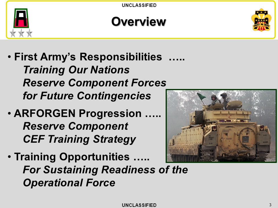 4 Mission Statement First Army advises, assists and trains Reserve Component units during pre-mobilization periods.