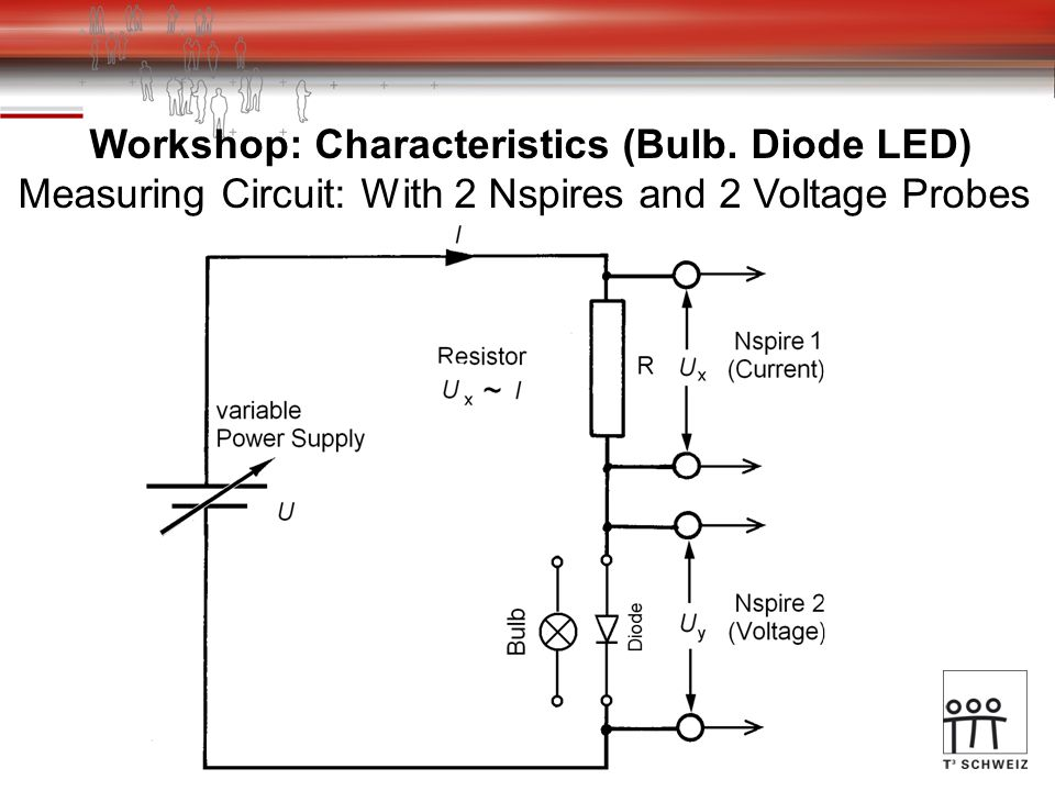 Workshop: Characteristics (Bulb. Diode LED) Measuring Circuit: With 2 Nspires and 2 Voltage Probes