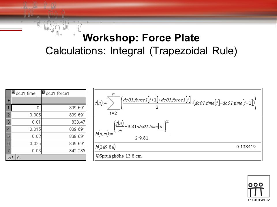 Workshop: Force Plate Calculations: Integral (Trapezoidal Rule)