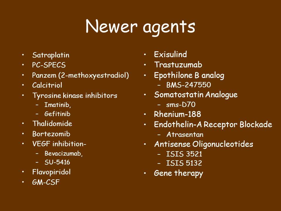 Newer agents Satraplatin PC-SPECS Panzem (2-methoxyestradiol) Calcitriol Tyrosine kinase inhibitors –Imatinib, –Gefitinib Thalidomide Bortezomib VEGF inhibition- –Bevacizumab, –SU-5416 Flavopiridol GM-CSF Exisulind Trastuzumab Epothilone B analog –BMS-247550 Somatostatin Analogue –sms-D70 Rhenium-188 Endothelin-A Receptor Blockade –Atrasentan Antisense Oligonucleotides –ISIS 3521 –ISIS 5132 Gene therapy