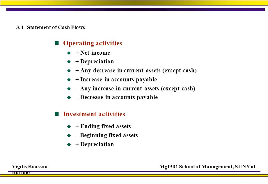 Vigdis BoassonMgf301 School of Management, SUNY at Buffalo 3.4 Statement of Cash Flows Operating activities  + Net income  + Depreciation  + Any decrease in current assets (except cash)  + Increase in accounts payable  – Any increase in current assets (except cash)  – Decrease in accounts payable Investment activities  + Ending fixed assets  – Beginning fixed assets  + Depreciation