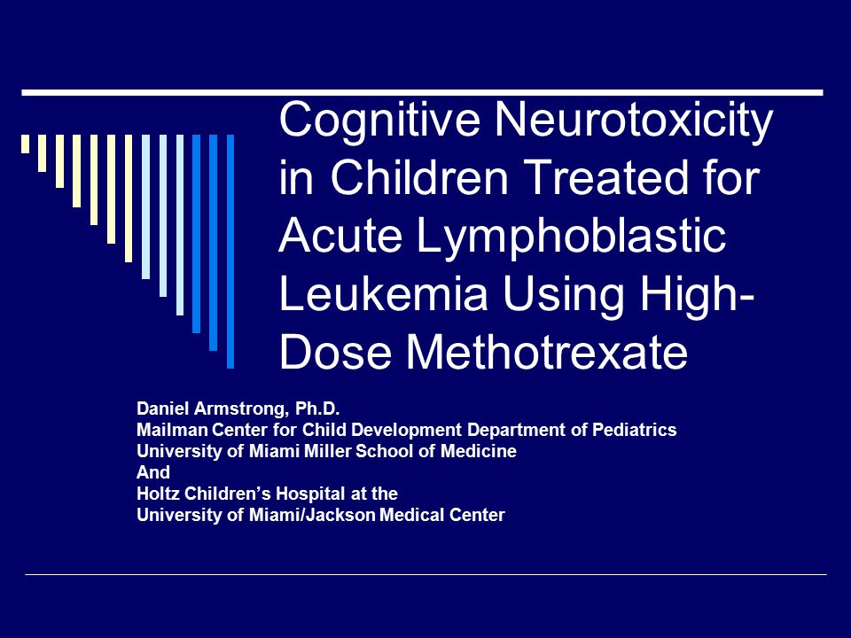 Neurocognitive Outcomes Project  2 age cohorts Younger (12.0 months-155.9 months at diagnosis) Older (156 months-216 months at diagnosis)  Each age cohort sub-grouped by age at diagnosis, with random distribution between Capizzi and HD-MTX arms