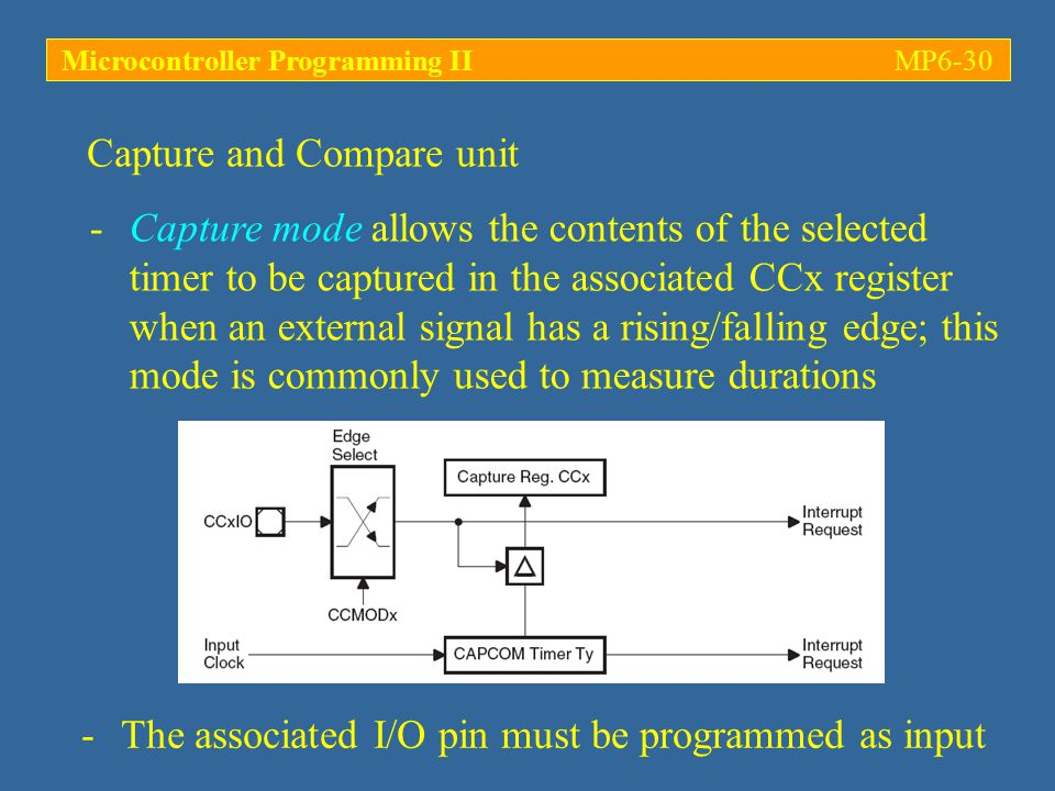 Microcontroller Programming IIMP6-30 -Capture mode allows the contents of the selected timer to be captured in the associated CCx register when an ext