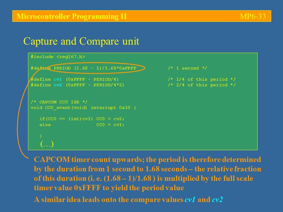 Microcontroller Programming IIMP6-33 #include #define PERIOD (1.68 - 1)/1.68*0xFFFF /* 1 second */ #define cv1 (0xFFFF - PERIOD/4) /* 1/4 of this peri